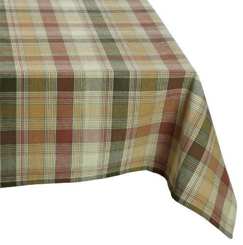 Mahogany Timothy Tablecloth, Woven Fall Colors, 60-inches by 120-inches (Oval Fall Colors)