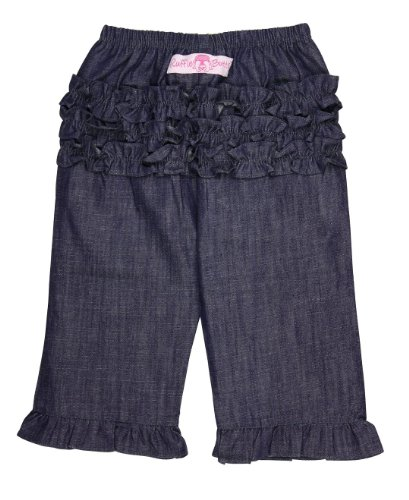 - RuffleButts Baby/Toddler Girls Baby Dark Blue Denim Jean Ruffled Pants - 6-12m