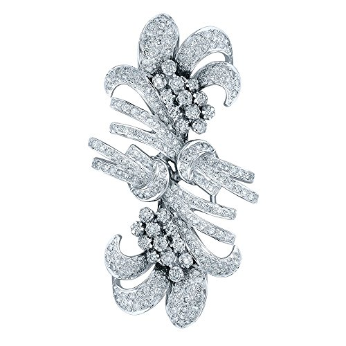 (18K White Gold Round Brooch (2.64 ctw, K Color, I2 Clarity))