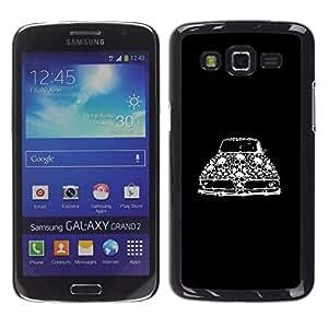 Be Good Phone Accessory // Dura Cáscara cubierta Protectora Caso Carcasa Funda de Protección para Samsung Galaxy Grand 2 SM-G7102 SM-G7105 // Retro Car Vintage Muscle Black Skull