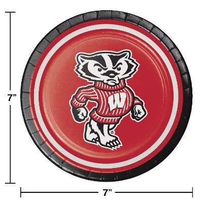 (Pack of 96 NCAA Wisconsin Badgers Round Tailgate Party Paper Plates 7