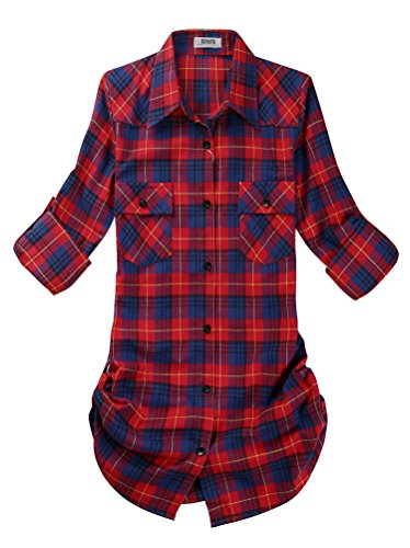 OCHENTA Women's Mid Long Style Roll up Sleeve Plaid Shirt C112 Label 2XL - US 4-6 (Label Flannel)