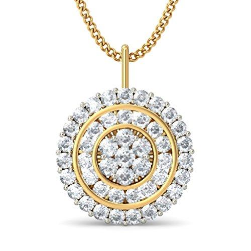 14K Or jaune 0.99CT TW Round-cut-diamond (IJ   SI) Pendentif