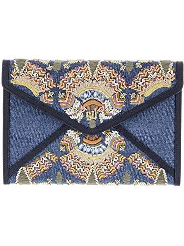 Fold Clutch Over Beaded (Rebecca Minkoff Women's Leo Clutch Denim Multi One Size)