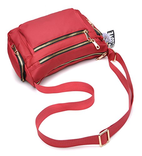 Shoulder Bag Multi Nylon Women with Pocket Waterproof Bag Large Crossbody Red Travel tuokener for ZBAqpp