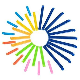 30 Piezas 3 Tamaños Pinza de Cierre de Plástico Pinza de Bolsa de Alimentos para Almacenaje de Alimentos y Aperitivos, Colores Variados