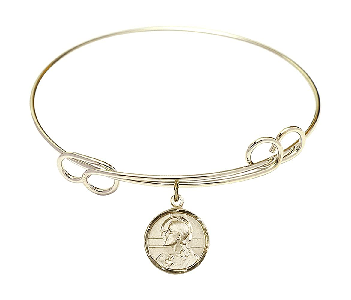 Scapular Charm On A 7 1//2 Inch Round Double Loop Bangle Bracelet