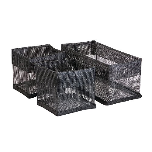 InterDesign Una Bathroom Vanity Organizer Mesh Bins for Health and Beauty Products/Supplies, Lotion, Perfume - 3 Piece, Square, Black
