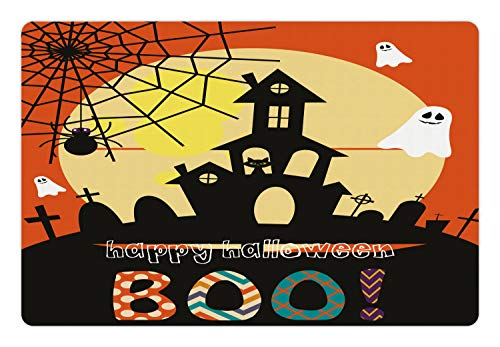 Lunarable Halloween Pet Mat for Food and Water, Haunted House with Cat Tombstones Ghosts and Spider Webs Happy Halloween Boo, Rectangle Non-Slip Rubber Mat for Dogs and Cats, Multicolor]()