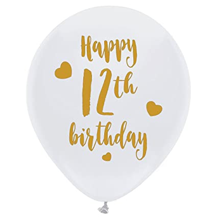 Amazon White 12th Birthday Latex Balloons 12inch 16pcs Girl