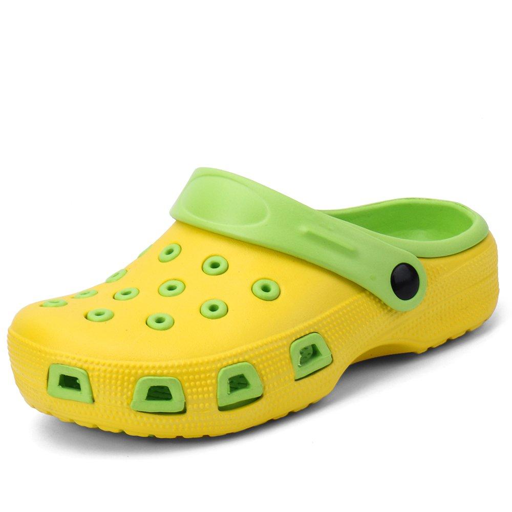 Zefani Kid's Non-Slip Summer Garden Clogs Cute Children Beach Slipper Sandals Yellow Green 3 M US Little Kid