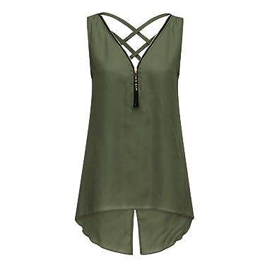 9b3e416350d XVSSAA Women's Zip Back Strap Crossover Sleeveless Vest Top, Loose Tank Top  Irregular Hem Zipper V-Neck Shirt at Amazon Women's Clothing store: