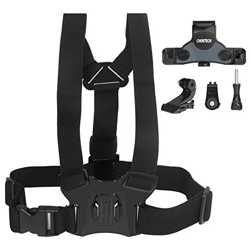 CHOETECH Elastic Chest Belt Strap Harness Adjustable Mount Holder for Sports Action Camera, GoPro Hero5 Black/5 Session/4/3+/3/2, SJCAM, (Action Camera Chest Mount)
