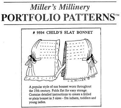 1800s Child's Slat Bonnet Pattern (Childs Slat)