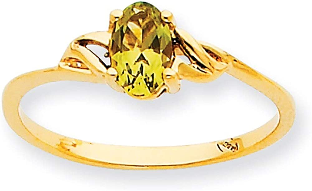 Lex /& Lu 10k Yellow Gold Geniune Peridot Birthstone Ring 10XBR1 LAL96714