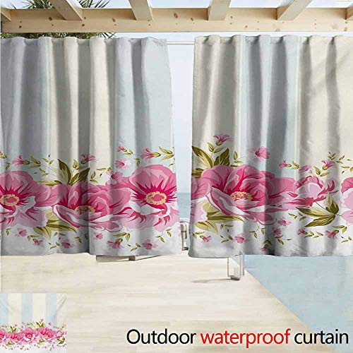 (AndyTours Outdoor Blackout Curtains,Vintage Pink Peony Border on Vertical Striped Tile Bridal Wedding Design,Rod Pocket Energy Efficient Thermal Insulated,W63x72L Inches,Coconut Pale Blue Pale Pink)