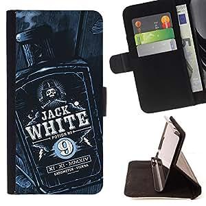 Stuss Case / Funda Carcasa PU de Cuero - Jack botella de licor de whisky Negro Blanco - Motorola Moto E ( 2nd Generation )
