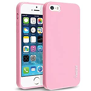 Insten TPU Rubber Skin Case Compatible with Apple iPhone 5 / 5S, Light Pink Jelly