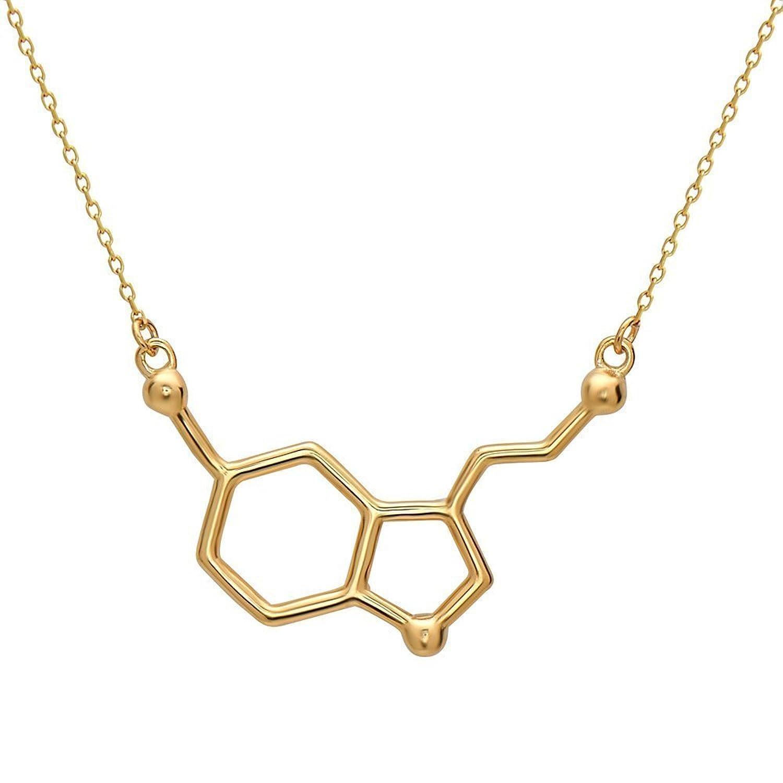 Serotonin Molekül Anhänger Halskette aus 925 Sterling Silber by ...