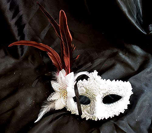 BeuFresh Halloween Feather Mask, White Feather for Halloween Custome Party, White