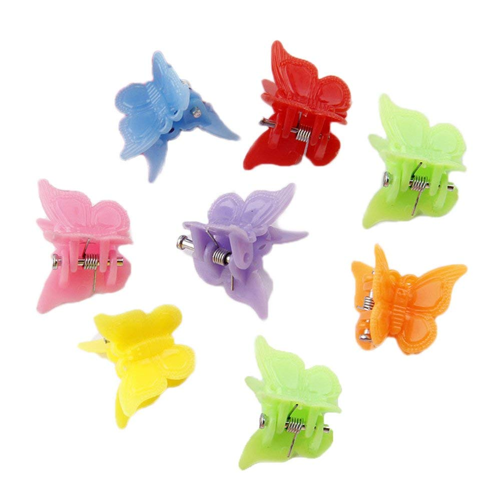 HugeDE 50 Pcs Baby Mini Plastic Butterfly Hair Clips Hair Claw Hair Clamps Barrettes for Girls