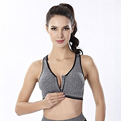 Yoga Bra Zip Front Racerback Sports Bra for Women, High Impact Workout...