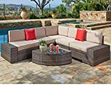 SUNCROWN Outdoor Furniture Sectional Sofa & Wedge Table (6-Piece Set) All-Weather Brown Wicker with Washable Seat...
