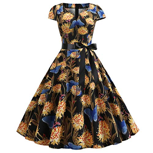 Women's Short Sleeve V-Neck Printed Belted Dress Vintage Knee-Length Pleated Casual Prom Party Gown Yellow