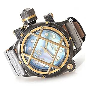 Invicta 52mm Russian Diver Nautilus Swiss Made ETA 2824 Automatic Leather Strap Watch