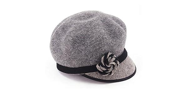 cbc5a5a9f Koola's Women's Berets Wool Hats Peak Cap Vintage Dark Grey at ...