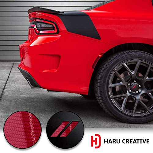 Haru Creative - Stripe Hash Rhombus Wheel Center Cap Overlay Vinyl Decal Sticker Compatible with and Fits Dodge Charger and Challenger 2017 2018 (no Wheel caps Included) - 5D Gloss Carbon Fiber Red