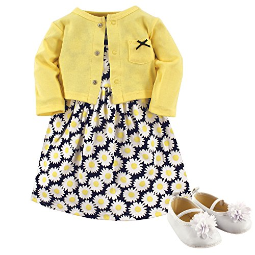 Hudson Baby Baby Girls' 3 Piece Dress, Cardigan, Shoe Set, Daisies, 9-12 Months (12M)