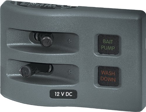Blue Sea Systems WeatherDeck 12V DC 2-Position Circuit Breaker Waterproof Fuse Panel, Grey