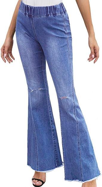 Huateng Pantalones Acampanados De Mezclilla Para Mujer Alta Elasticidad Cintura Alta Pantalones De Mezclilla Banda De Goma Cintura Elastica Con Agujero En La Rodilla Jeans S Xxl Amazon Es Ropa Y Accesorios