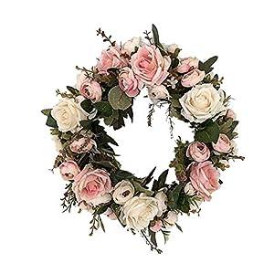 S.H.EEE Door Wall Ornament 13Inch Rose Wreath Small Pink Door Wall Ornament 36