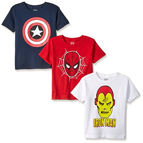Marvel Boys' Spider Iron Man, Captain America Logo 3-Pack T-Shirt