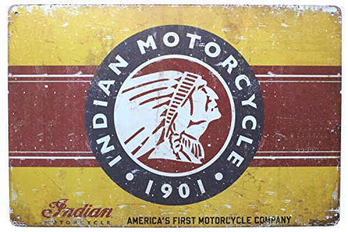 Indian Motorcycle 1901 Poster, Metal Tin Sign, Vintage Plaque Garage Home Wall Decor