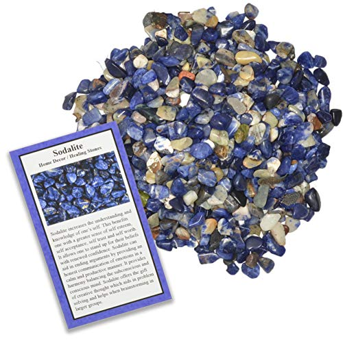 Fantasia Materials: 2 lbs Tumbled Sodalite Chip Stones with ID Card - Natural Earth Mined Brazilian (Not China) Polished Rocks for Art, Crafts, Reiki, Jewelry Making, Home Decoration and More!
