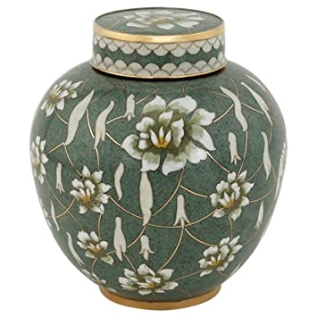 Silverlight Urns Pear Blossom Cloisonne Urn, Metal Urn with Green Enameled Decoration, Adult Sized Cremation Urn for Ashes, 9.5 inches high