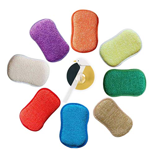 (Antibacterial Microfiber Kitchen Scouring Pads Double Sided Scrubbing Sponges Scourer Non Odor Dish Scrubber Brush, Great for Non Stick Pans Pots Cookware, Pack of 5 Random Colors with Adhesive Hooks)