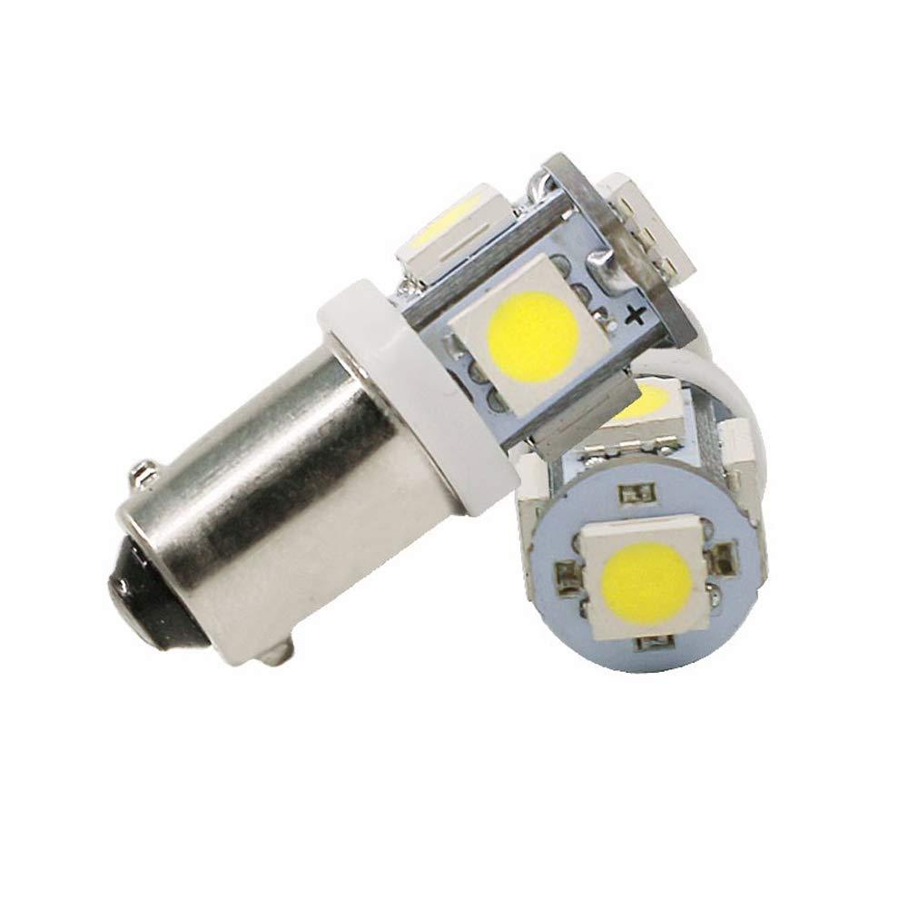 BA9S 434 T4W 5 LED 5050 SMD H6W Car Auto Interior Reading Lights Dome Lamp License Plate Side Marker Turn Light Bulb DC 12V White 10PCS//Lot