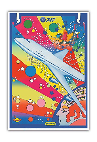 Pan American World Airways - Boeing 747 - Pop Art - Vintage Airline Travel Poster by Peter Max c.1969 - Master Art Print - 13in x 19in ()