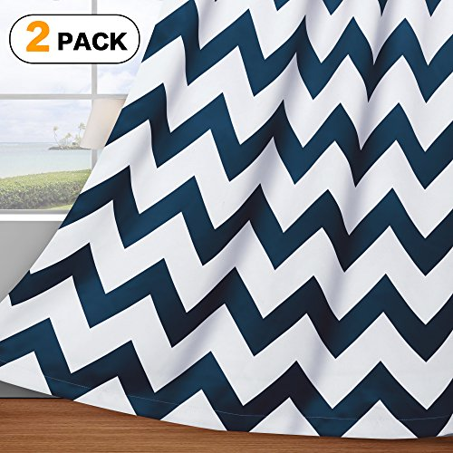 Panel 84l (Flamingo P Ultra Sleep Well Blackout Thermal Insulated Curtains for Living Room, Thick and Soft Grommet Curtain, Traditional Vintage Chevron in Navy, 2 Panels, 52x84 inch)