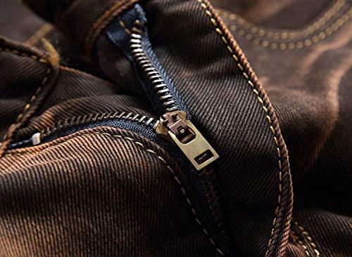Di Giovane Brown Moda Senza Uomo Denim Tempo Pantaloni Distrutti Slim Il Cintura Dritti Jeans Fit Retro Per A Da Media Vita Libero qSCx1vO