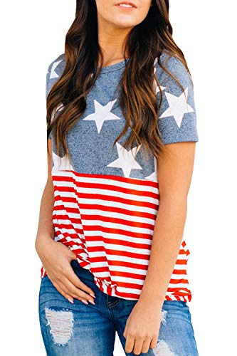 ALBIZIA American Flag Tee Shirts 4th July Patriotic T-Shirt Tops for Women XL USA Flag-1