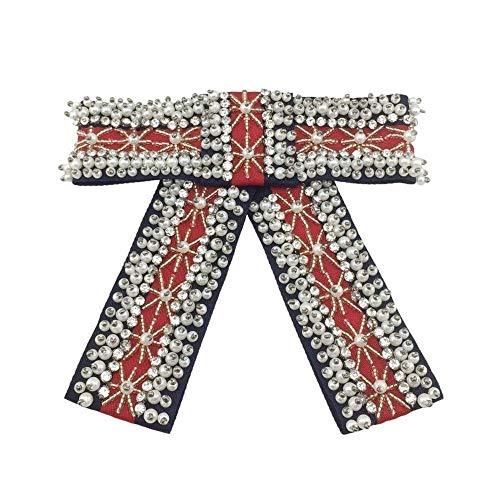 LanDream Wedding Brooch, Brooch for Wedding Prom Beaded Butterfly Knot Brooch Set Diamond Crystal Pearl Red Tie Tie Ornament