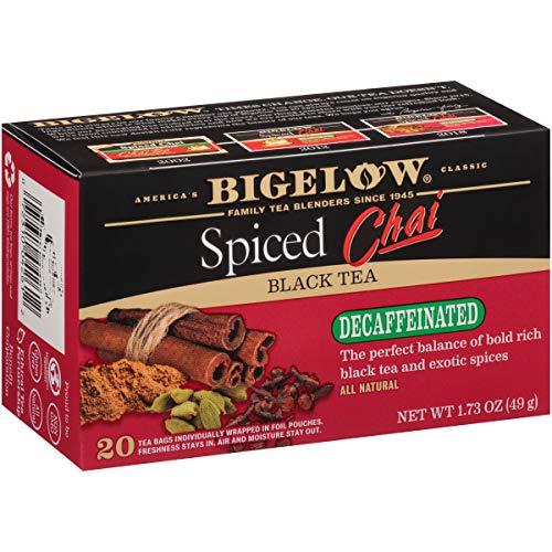 Bigelow Decaffeinated Spiced Chai Tea Boxes, Caffeinated Individual Black Tea Bags, for Hot Tea or Iced Tea, 20 Count (Pack of 6), 120 Tea Bags Total. ()