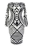made2envy Geo Pattern Long Sleeve Bodycon Dress (S, Black/White) C6547S