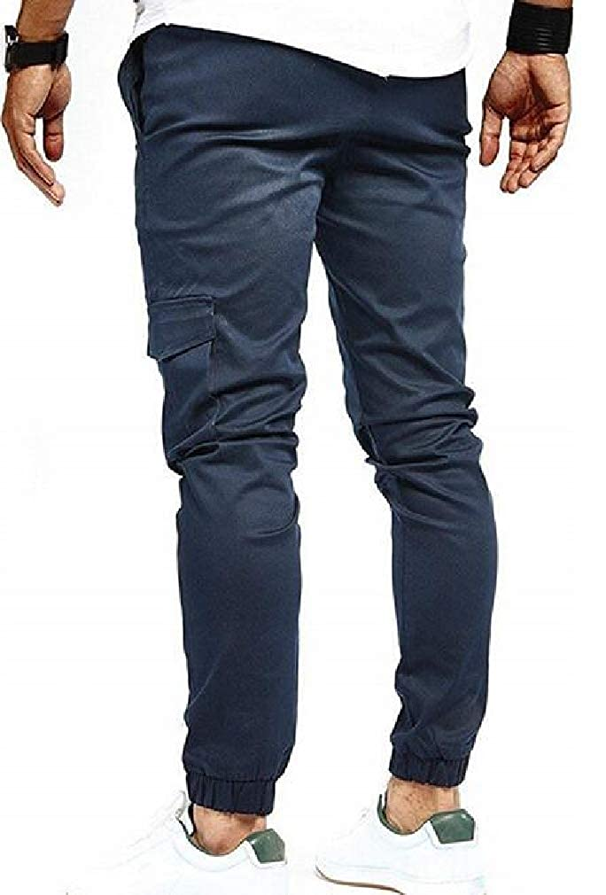 Cromoncent Men Casual Elastic-Waist Tie Waist Active Jogger Pants