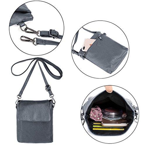 Women Rucksack Shoulder way PU Bag School 3 Ladies Grey UTO Backpack Washed Leather fFpwqnqdx
